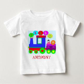 Trem personalizado bonito camiseta para bebê