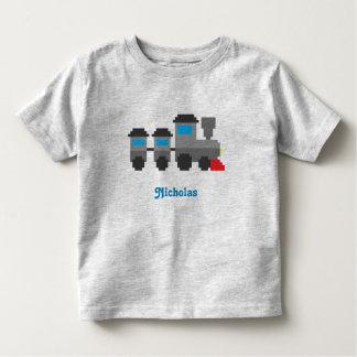 Trem personalizado do estilo da arte do pixel camiseta infantil