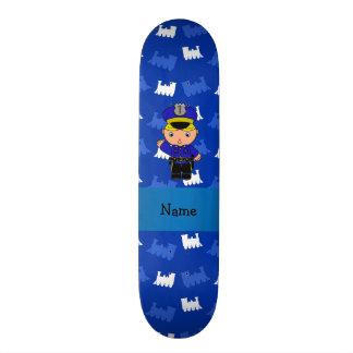 Trens conhecidos personalizados do azul do polícia shape de skate 18,4cm