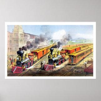 Trens do vapor, estação, poster vintage da estrada