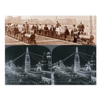 Trens velhos de Coney Island, cartão da imagem de