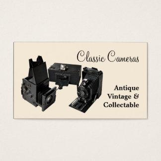Três câmeras antigas cartão de visitas