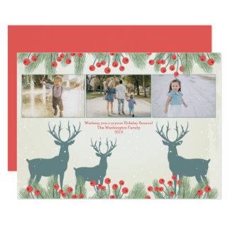 Três cartão de Natal da baga e dos cervos do
