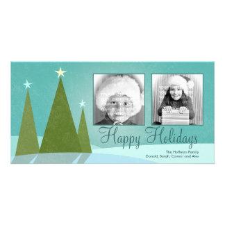 Três cartões com fotos do feriado das árvores de