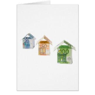 Três casas feitas do euro- papel moeda cartão comemorativo
