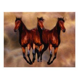 Três cavalos em um convite personalizado