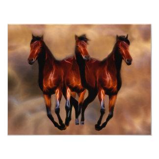Três cavalos em um convite 10.79 x 13.97cm