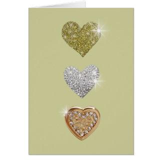 Três corações do amor cartão comemorativo
