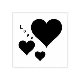 Três corações e namorados do doce do amor carimbo de borracha