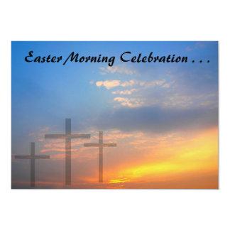 Três cruzes e nasceres do sol convite personalizado