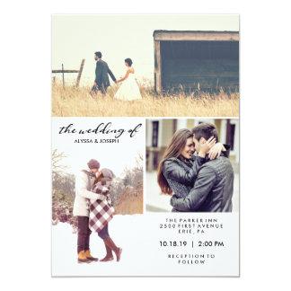 Três fotos e convite de casamento moderno da