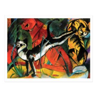 Três gatos por Franz Marc Cartão Postal