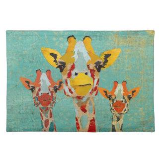 Três girafas espreitando Placemat Suporte Para Pratos