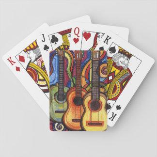 Três guitarra jogo de baralho