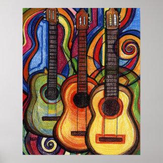 Três guitarra poster