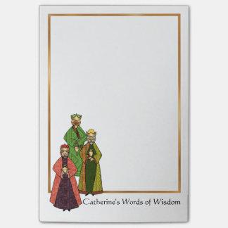 Três homens sábios falam palavras da sabedoria post-it notes