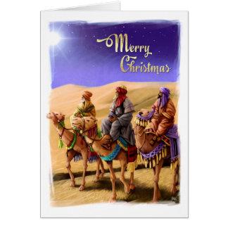 Três homens sábios que pintam cartões de Natal