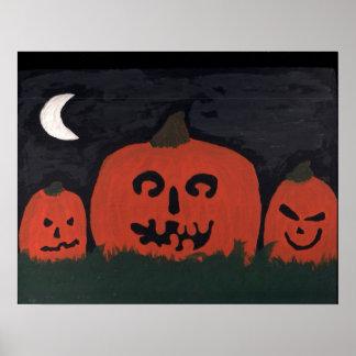 Três Jack-O-Lanternas da lua Poster