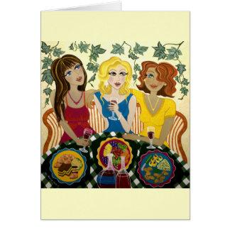 Três meninas comemoram o cartão Customisable da