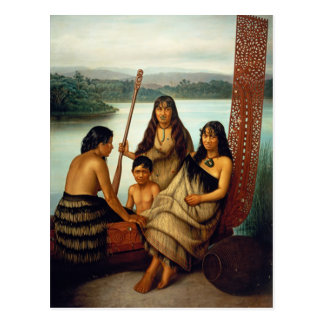 """""""Três meninas maori e um cartão de Lindauer do"""