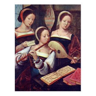 Três meninas que jogam o cartão da música