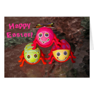 Três ovos do inseto da páscoa cartão comemorativo