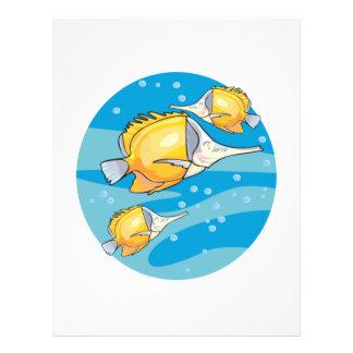 três peixes amarelos da borboleta panfletos