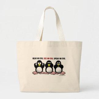 Três pinguins sábios sacola tote jumbo