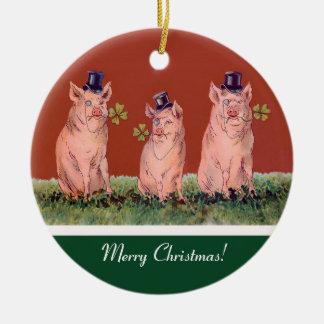 Três porcos felizes - enfeites de natal engraçados