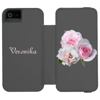 Três rosas cor-de-rosa capa carteira incipio watson™ para iPhone 5