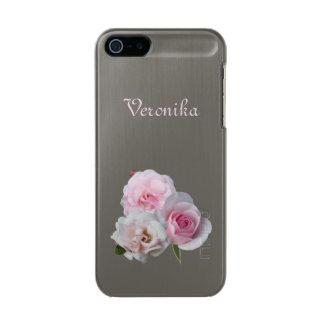 Três rosas cor-de-rosa capa metálica para iPhone SE/5/5s