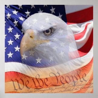 Três símbolos dos Estados Unidos da América Pôsteres