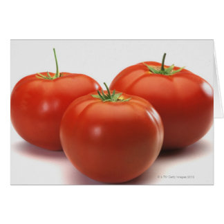 Três tomates no contador, fim-acima cartão