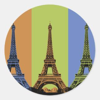 Três torres Eiffel em Paris Adesivos Redondos