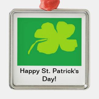 Trevo '11, o dia de St Patrick feliz! Ornamento Quadrado Cor Prata