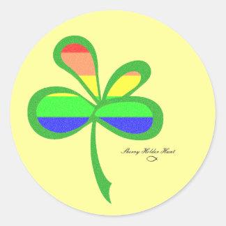 Trevo 2 do arco-íris de quatro folhas adesivos