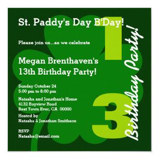 Trevo adolescente do aniversário de PROMO5 13o ST Convite Quadrado 13.35 X 13.35cm