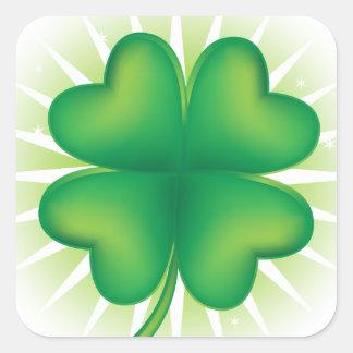 Trevo afortunado de quatro folhas adesivo quadrado