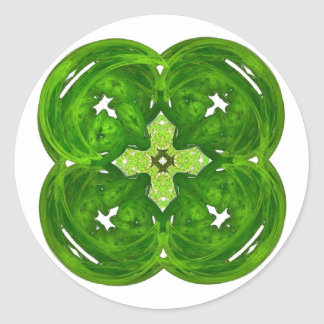 Trevo brilhante da folha da arte quatro do Fractal Adesivo Redondo