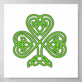 Trevo celta do verde do nó pôster