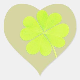 Trevo da folha do verde quatro adesivo coração