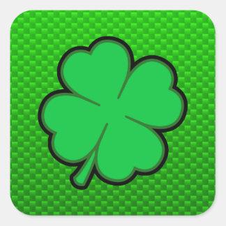 Trevo da folha do verde quatro adesivo quadrado