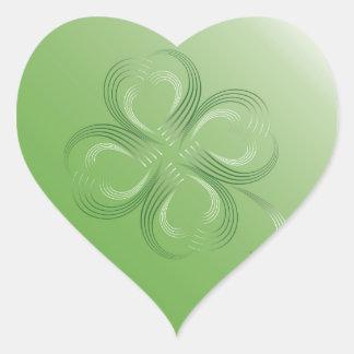 Trevo de quatro folhas adesivo coração