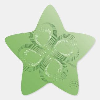 Trevo de quatro folhas adesivo estrela