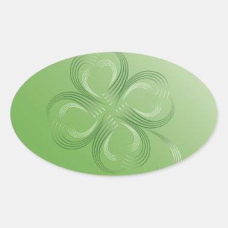 Trevo de quatro folhas adesivo oval