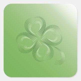 Trevo de quatro folhas adesivo quadrado