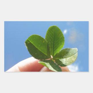 Trevo de quatro folhas adesivo retangular
