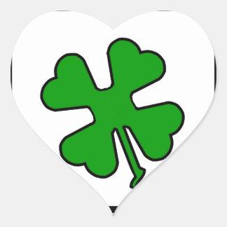 Trevo de quatro folhas (afortunado) adesivo de coração