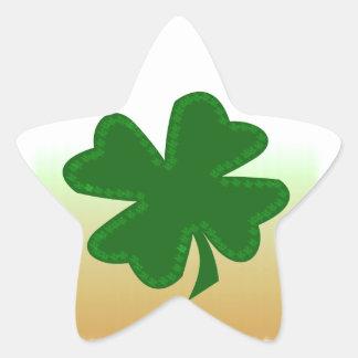 Trevo de quatro folhas adesivos estrelas