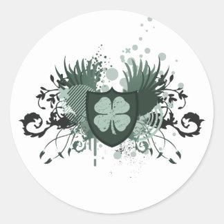 trevo de quatro folhas: fidelidade: adesivos em formato redondos